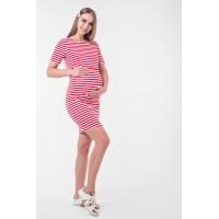 Летнее платье для беременных и кормящих (мини) Lullababe Barcelona Красный с белым
