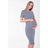 Летнее платье для беременных и кормящих (миди) Lullababe Barcelona Чёрный с белым