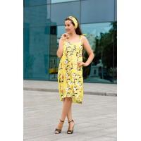 Летнее шёлковое платье для кормления и беременних - Жёлтое в цветок