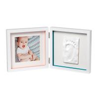 Baby Art Двойная рамочка Белая с полосками и отпечатком