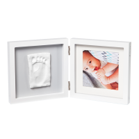 Baby Art Двойная рамочка Квадратная Бело-серая с отпечатком