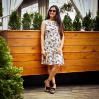 Летнее платье с воланом для кормления - Лилии