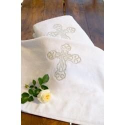 Крыжма - полотенце для крещения с серебряной вышивкой АРТ 40-01(2)