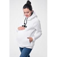 """Тёплый худи для беременных и кормящих мам с вышивкой """"WHITE"""" M"""